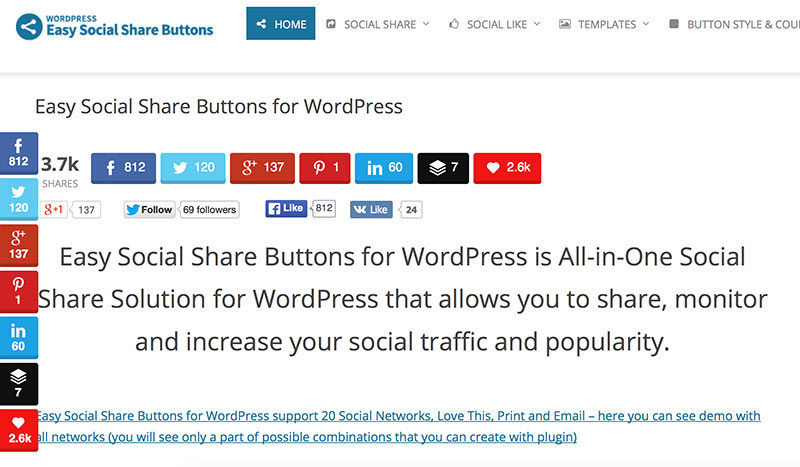 Add social buttons to encourage visitors to share your content.