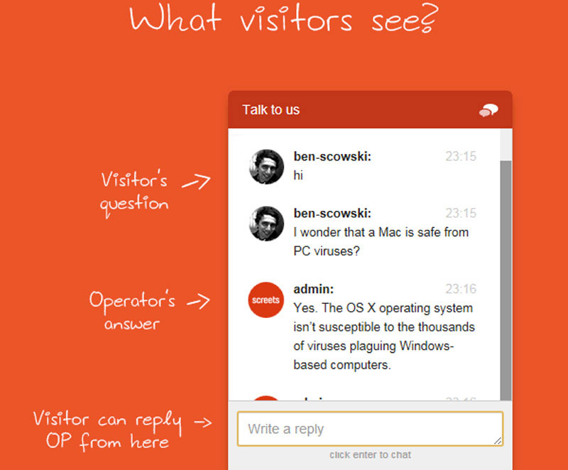 Chat with your visitors on your website.