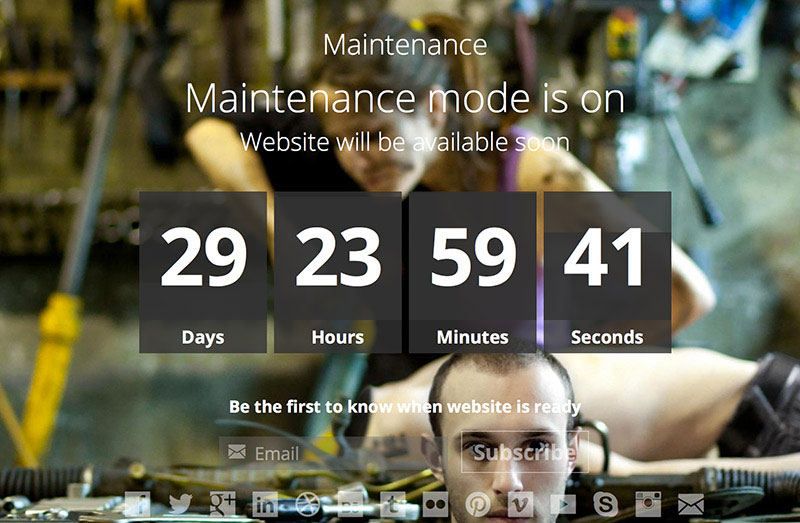 Add the maintenance mode when updating a website.