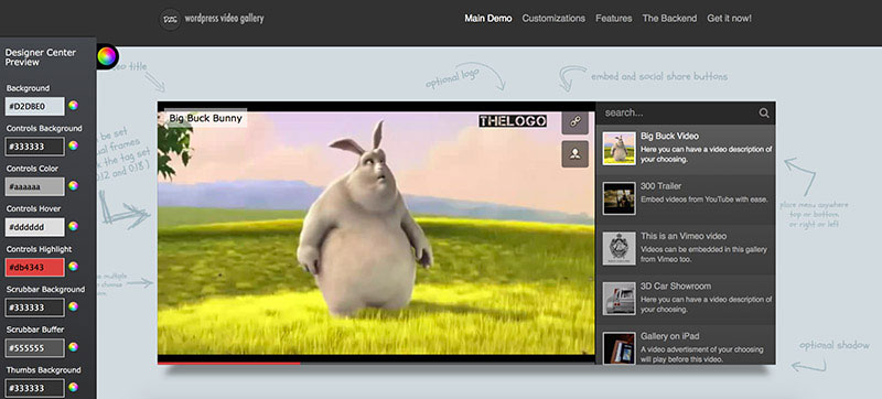 Very advanced plugin for stock video gallery, that lets you customize your video playlist.