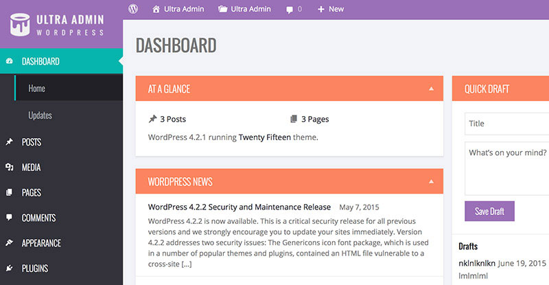 Ultra Admin brings your WordPress admin panel to life.