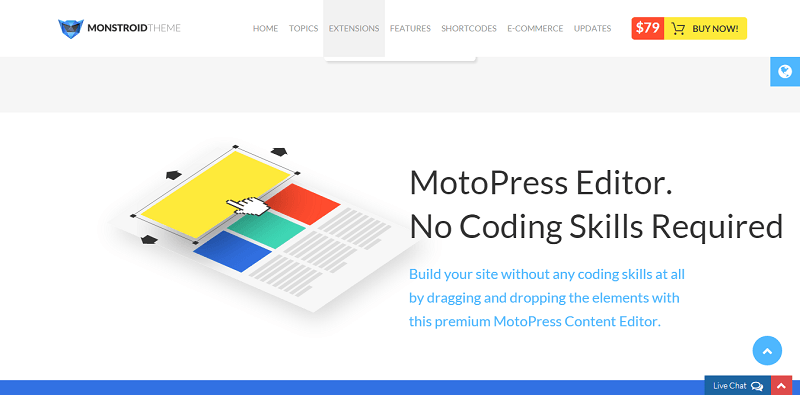 You don't need to code with the MotoPress editor