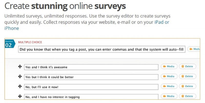 Polldaddy customize how your surveys look as you change the font, size, color, and add HTML, images, and videos