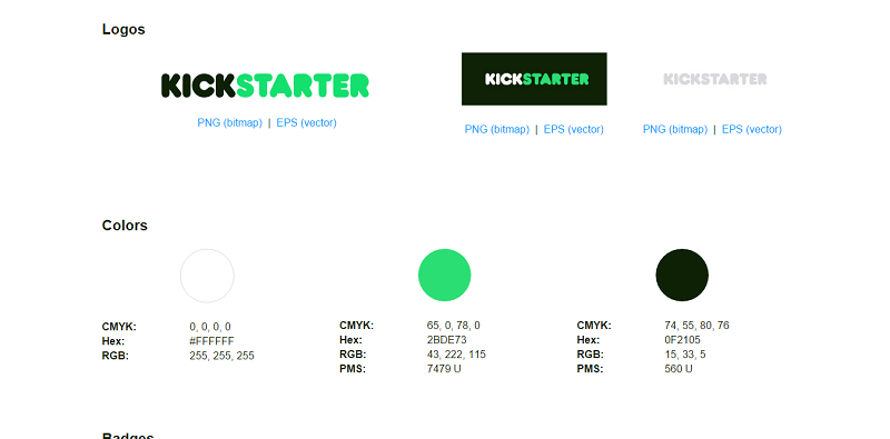 The Kickstarter guideline includes its logo, colors, and badges