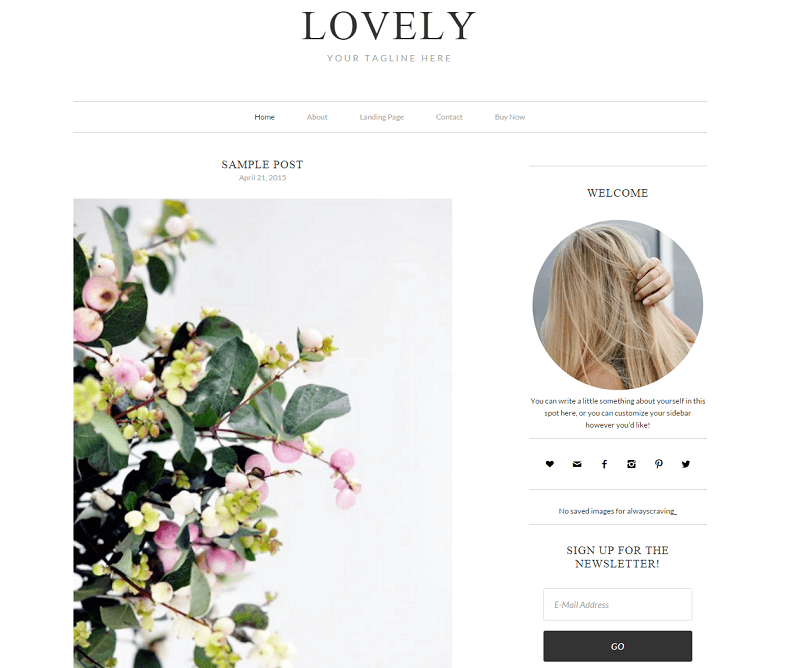 Lovely is a simple WordPress theme that delivers