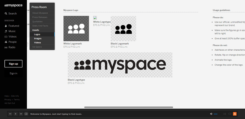 MySpace is as particular as any brand about its logo and branding
