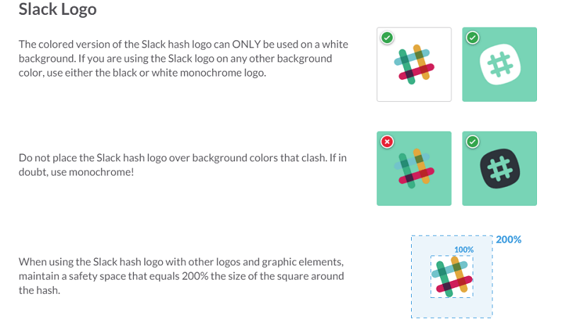 The Slack marks included in its style guides are the Slack name and logo
