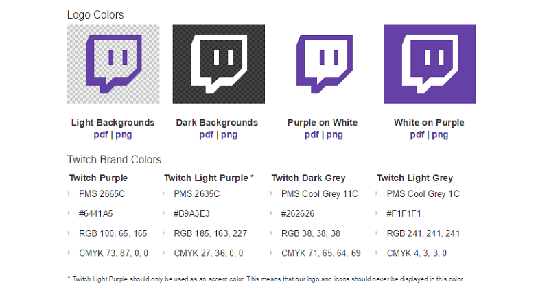 Check out Twitch's guidelines on the proper use of its logo, social media icon, and colors