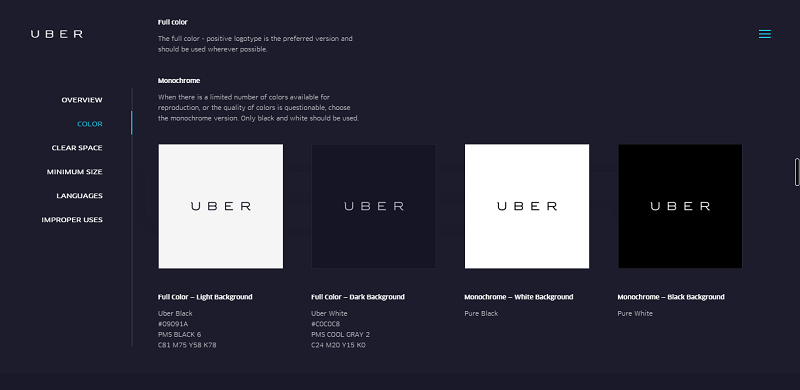 logotype, color palette, design system, typography by checking its style guides.
