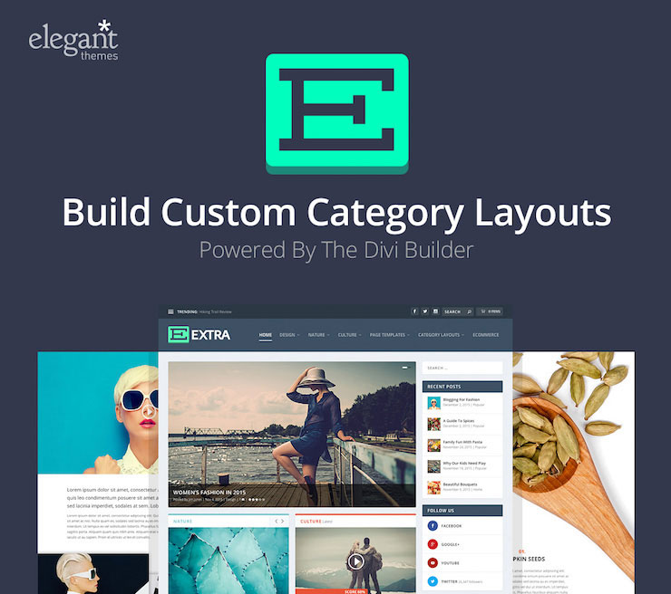 The Divi Builder allows you to build custom category layouts.