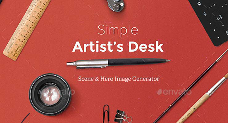 Artist's Desk Scene and Hero Image Generator