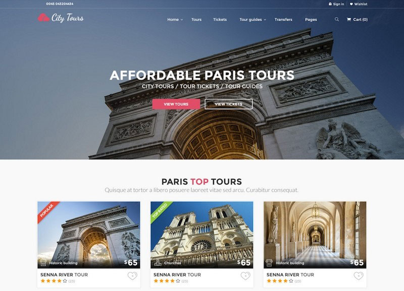 CityTours PSD - City Tours and Tour Tickets