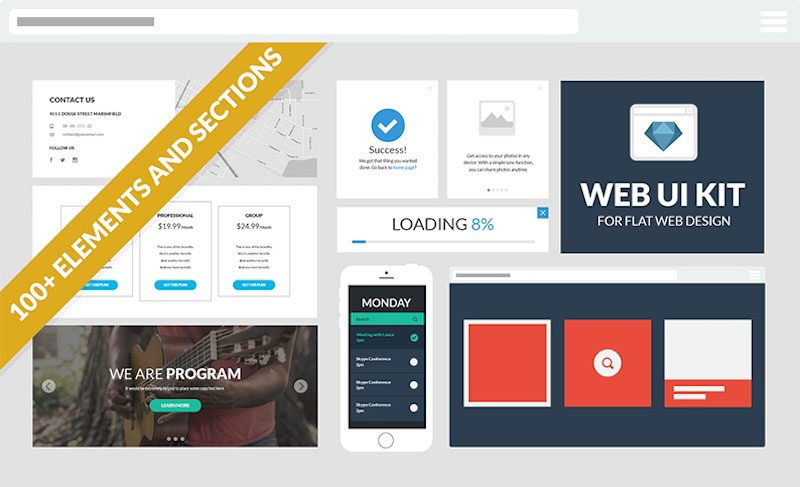Flat Web Design UI Kit
