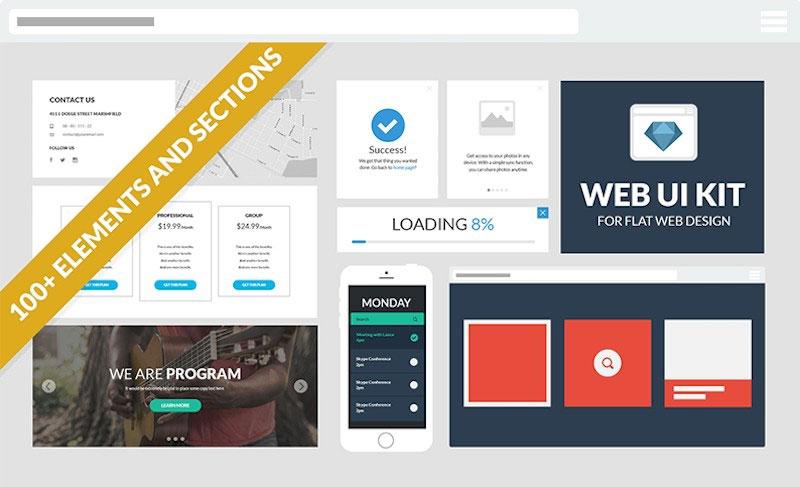Flat Web Design UI Kit
