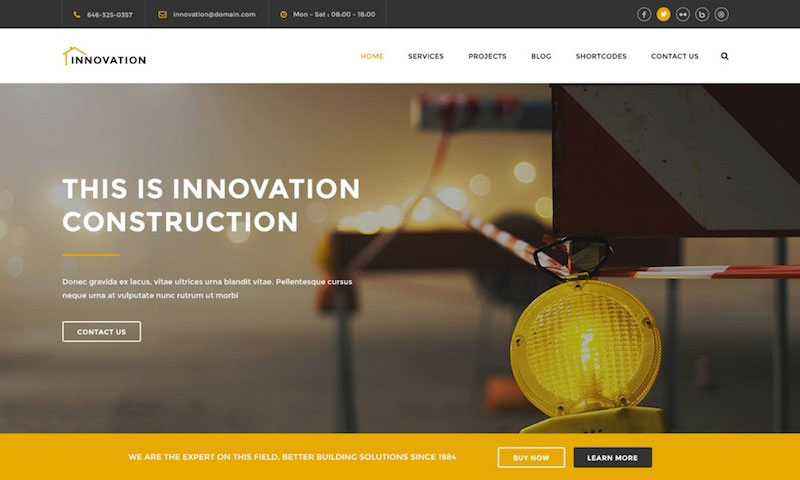 Innovation - Construction, Building PSD Template