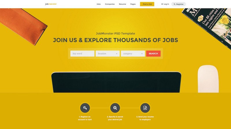 Jobmonster - Job Board PSD Template