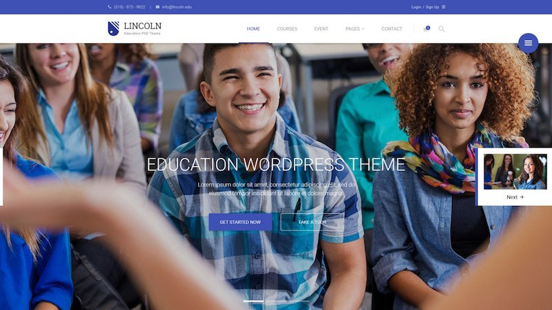 Lincoln - Educational Material Design PSD Theme