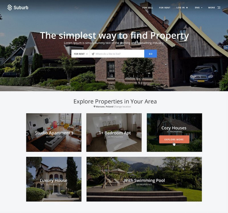 Suburb - Real Estate PSD theme