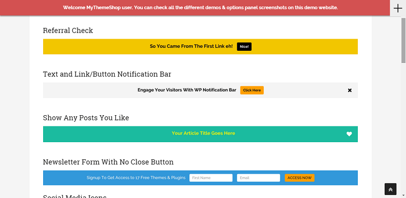 Inform your customers immediately with the latest projects and promotions using the WP Notification Bar plugin