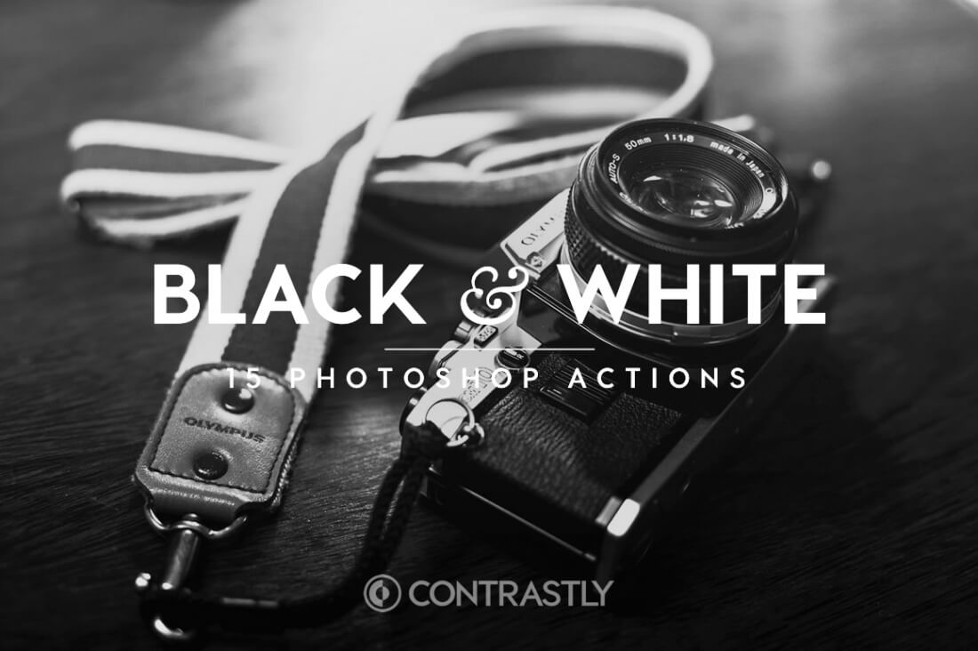 Black White Photoshop Action Bundle Contrastly