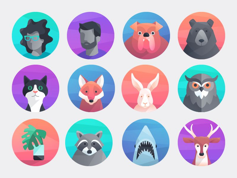 Icon Design Trend Staggered Gradients