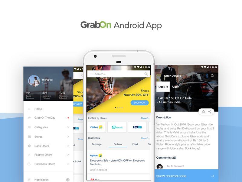material design GrabOn app