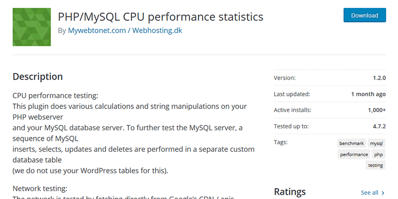 PHP/MySQL CPU Performance Statistics
