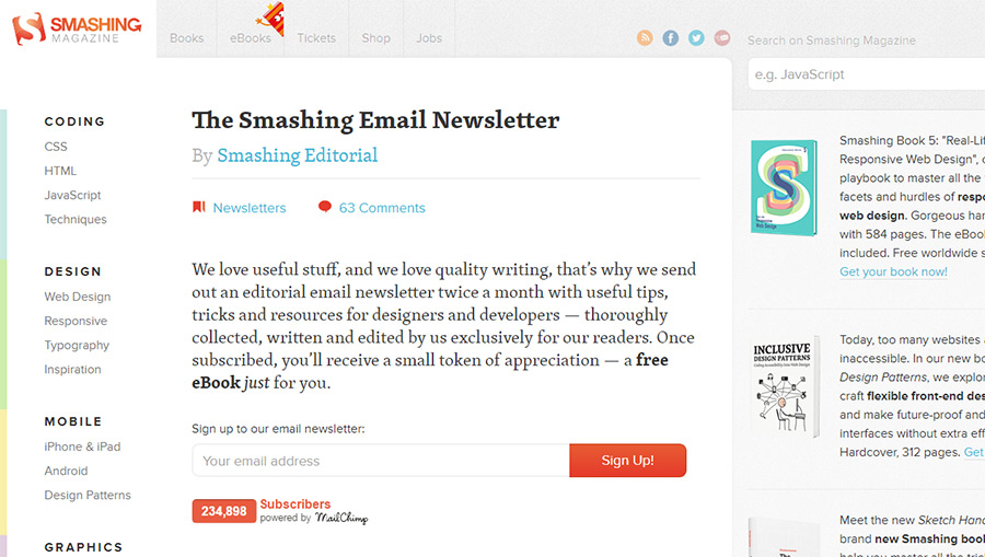 smashing magazine newsletter