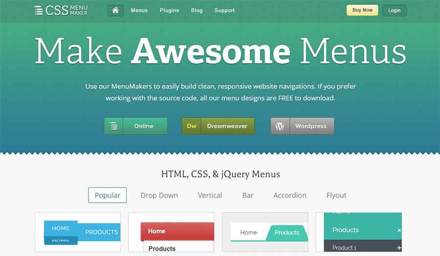 css menumaker website