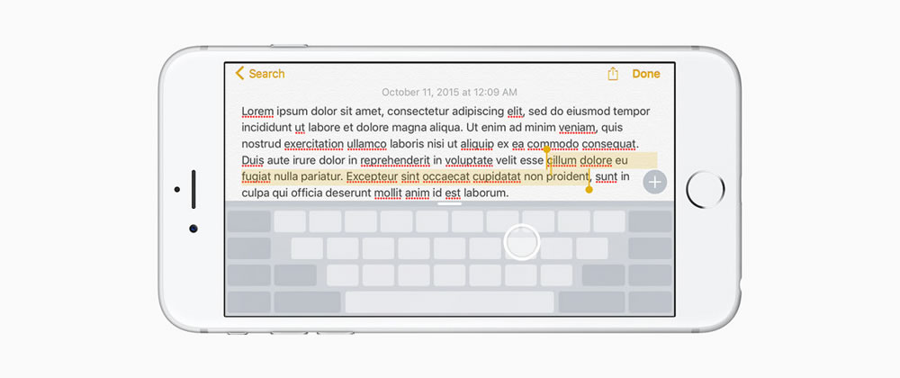 ios keyboard touch gestures