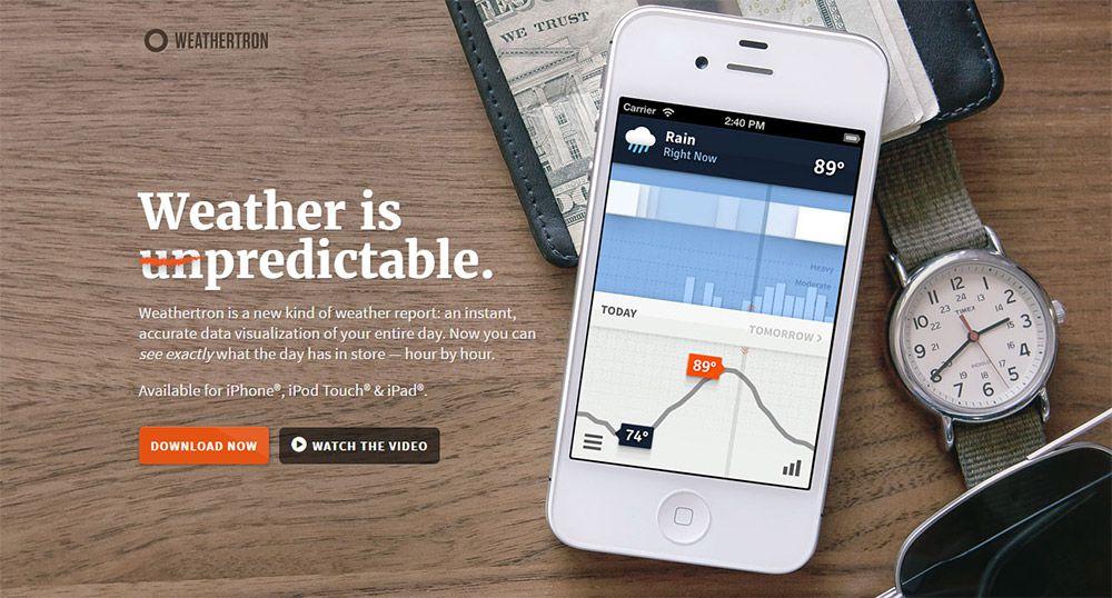 weathertron app homepage