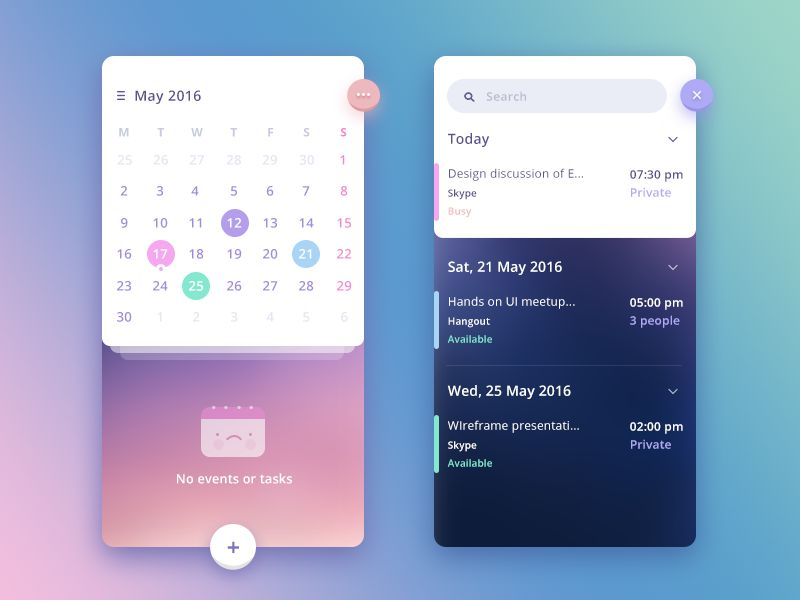 Stunning Examples of Calendar Mobile App Design