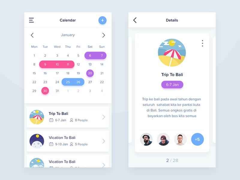Calendar App Design : Stunning examples of calendar mobile app design