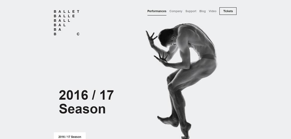 minimal web design Ballet BC