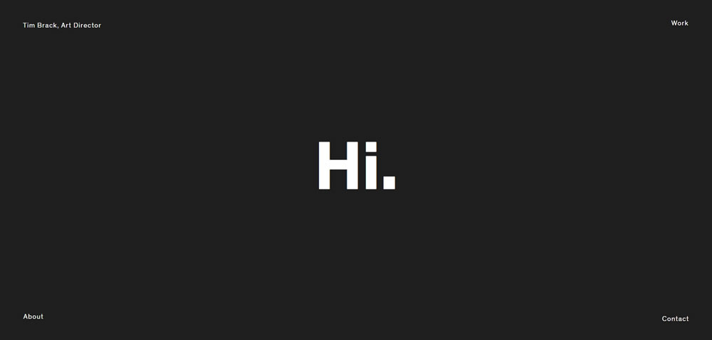 minimal web design Tim Brack