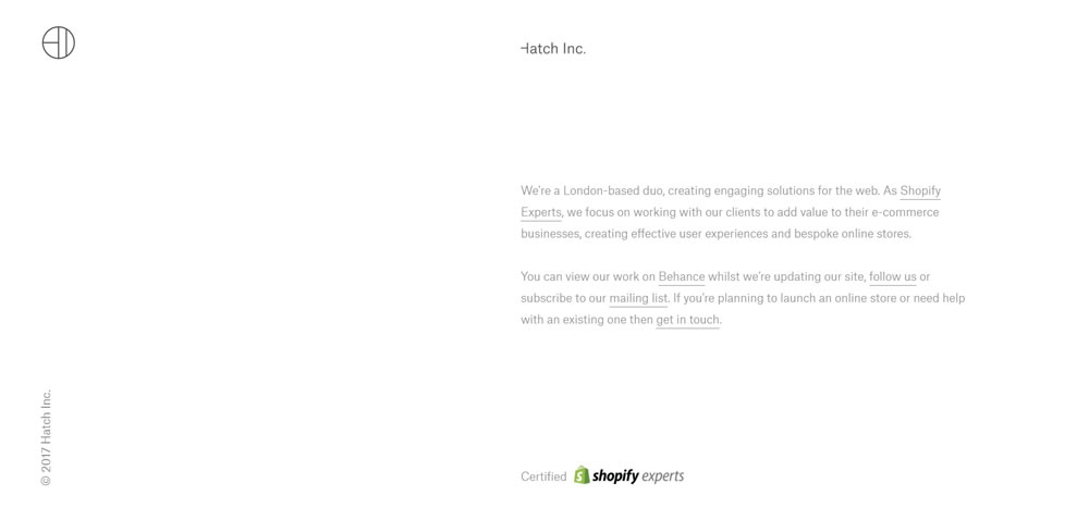 minimal web design Hatch Inc