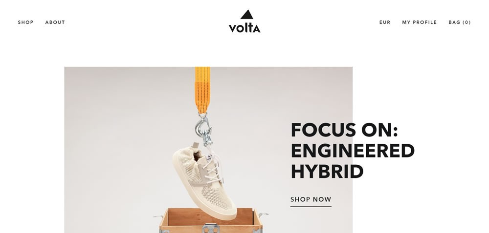whitespace web design Volta Footwear
