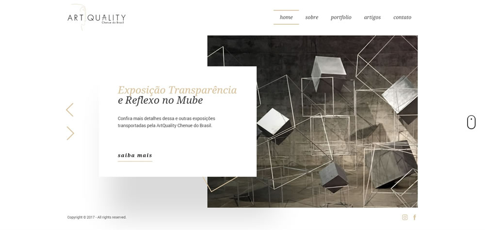 The beautifully simple  ArtQuality.com.br layout.