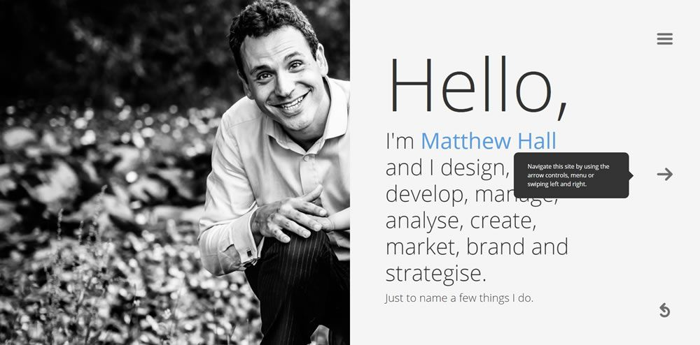 Matthew Hall split screen web design layout