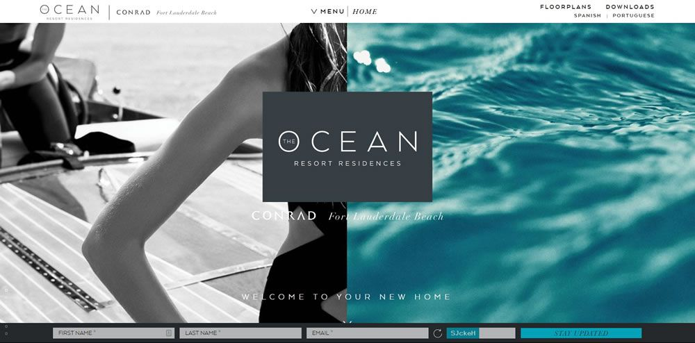 Ocean Resort Residences split screen web design layout