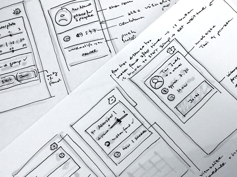 Wireframes for ridesharing App Concept