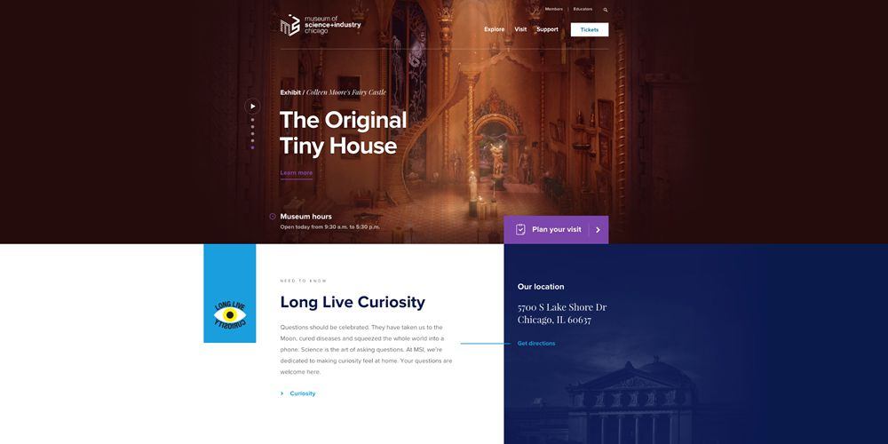 Museum of Science + Industry Motion Design in Web Design