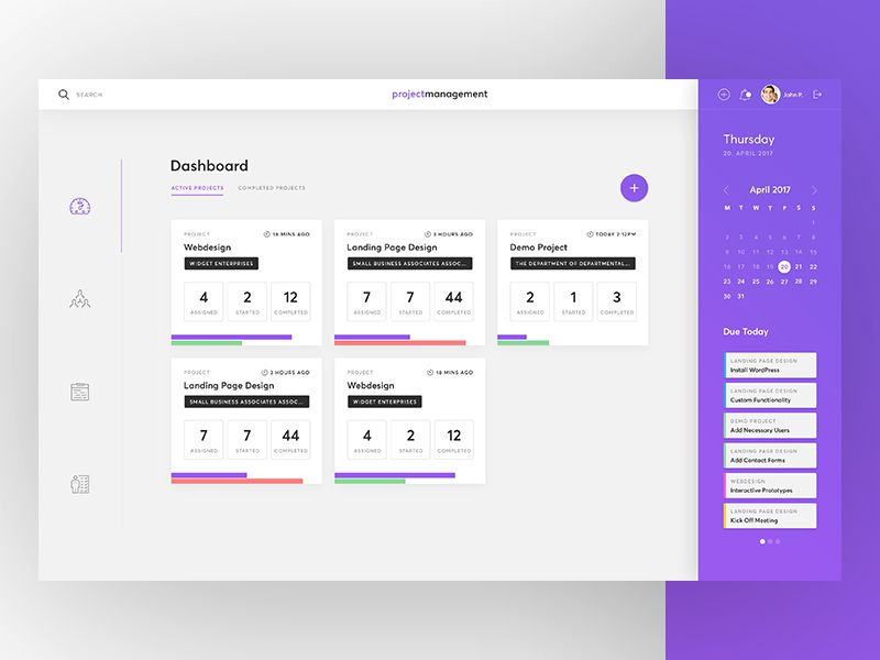 Project Management Dashboard Inspiring Designed Admin Dashboard Layouts