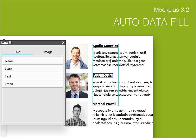 Mockplus Auto Data Fill