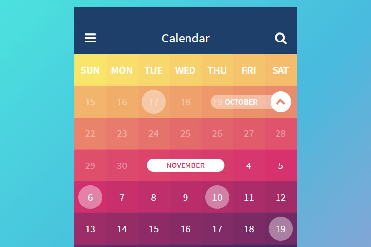 Weekly Calendar Ui : Open source calendar ui layouts built with css