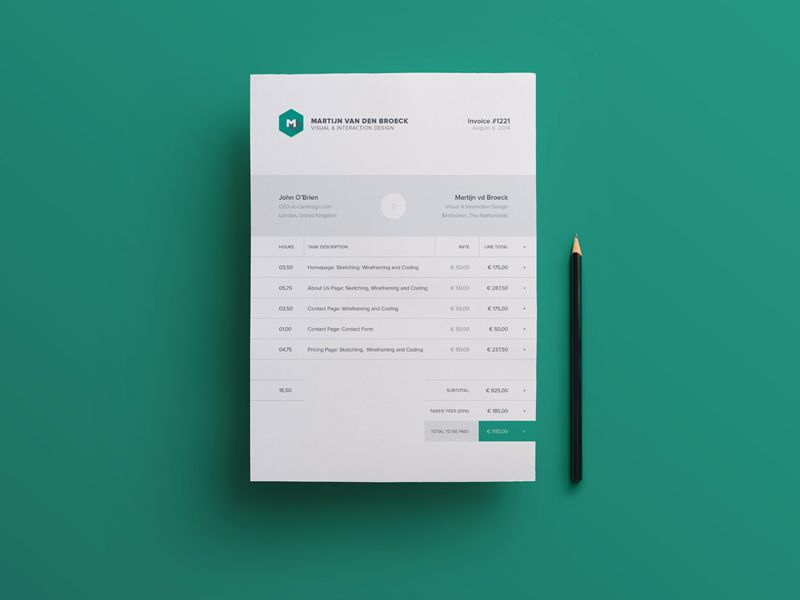 Modern Beautiful Free Invoice Templates For Creatives  Invoice Design Template