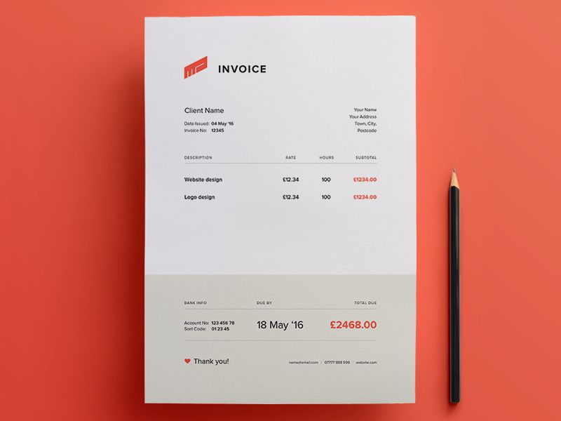 pretty invoice template  10 Free Invoice Templates for Creatives - 1stWebDesigner