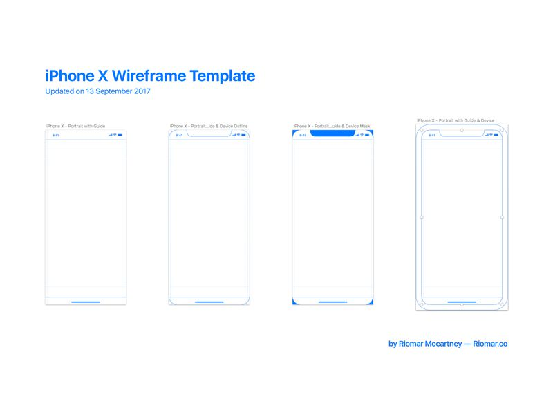 iPhone X Wireframe with iOS 11 Guides Free iOS 11 UI Kits Mockups Icon Sets