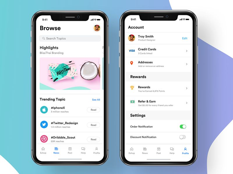 News Account iOS 11 App Design