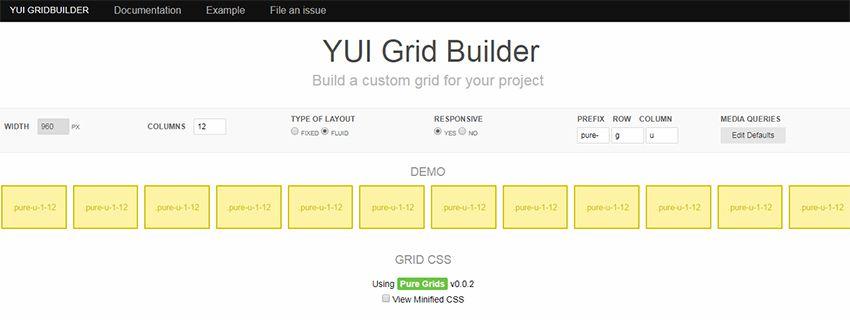 yui grid builder